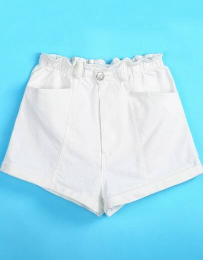 White Elastic Waist Pockets Shorts