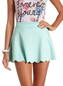 Green High Waisted Skater Skirt