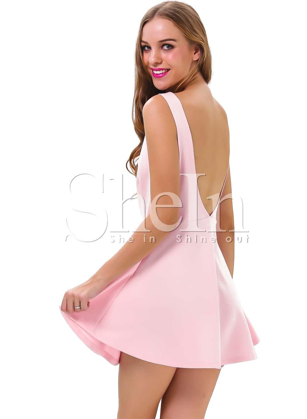 Pink Sleeveless Backless Romantic Loved Lolita Ruffle Skater Dress ...