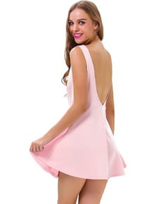 Pink Sleeveless Backless Ruffle Skater Dress