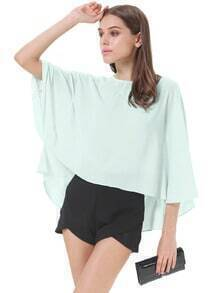 Green Cape Sleeve Boxy Crop Top