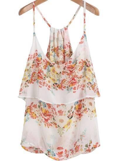 White Spaghetti Strap Floral Chiffon Vest
