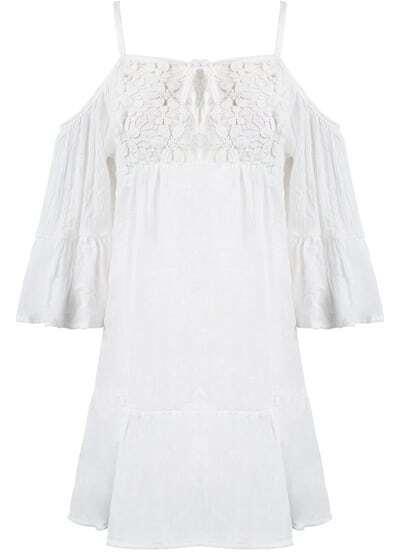 Vestido plisado gasa encaje correa de espagueti-blanco