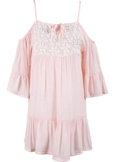 Pink Spaghetti Strap Lace Pleated Dress
