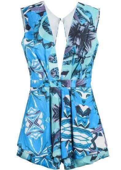 Blue Deep V Neck Vintage Floral Jumpsuit