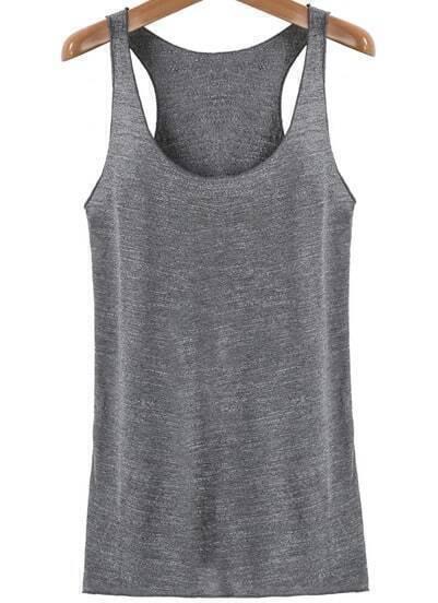 Grey Casual Sleeveless Slim Tank Top