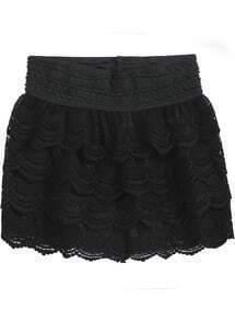 Black Cascading Ruffle Lace Shorts