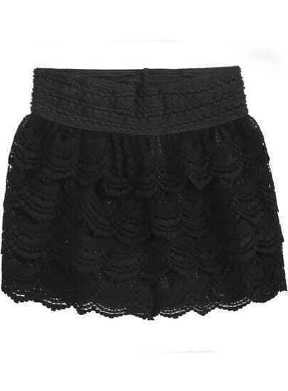 Black Cascading Ruffle Lace Shorts