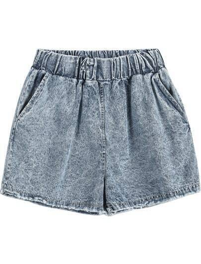 Blue Elastic Waist Fringe Denim Shorts