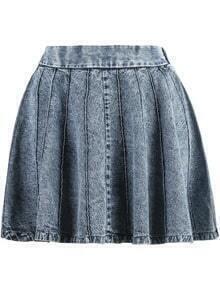 Blue Elastic Waist Pleated Denim Skirt
