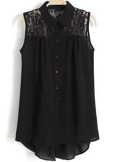 Black Lapel Sleeveless Contrast Lace Blouse