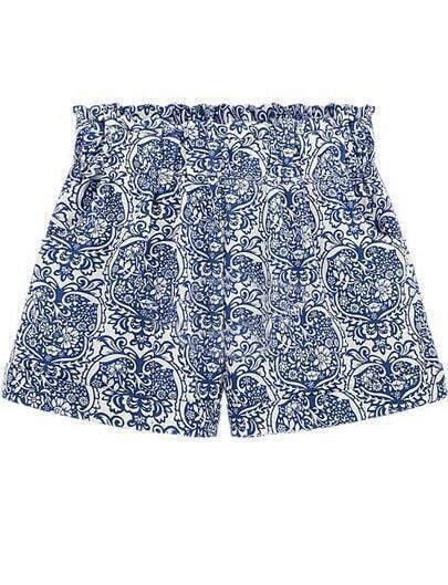 Blue High Waist Floral Straight Shorts