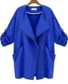 Blue Long Sleeve Zipper Pockets Slim Coat