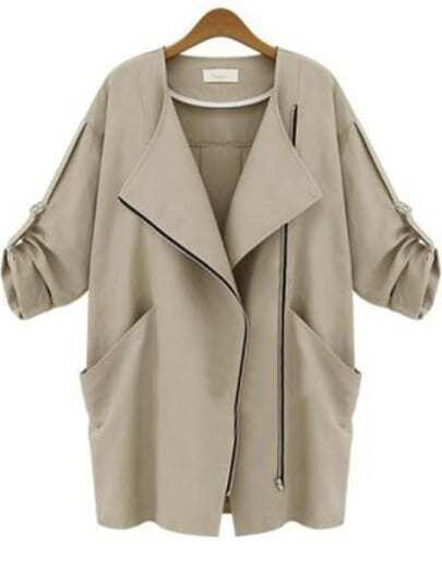 Khaki Long Sleeve Zipper Pockets Slim Coat