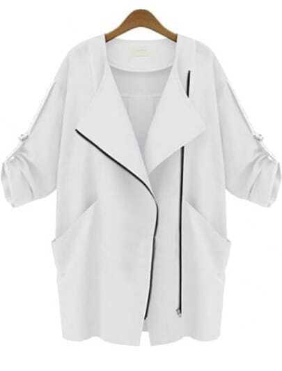 White Long Sleeve Zipper Pockets Slim Coat