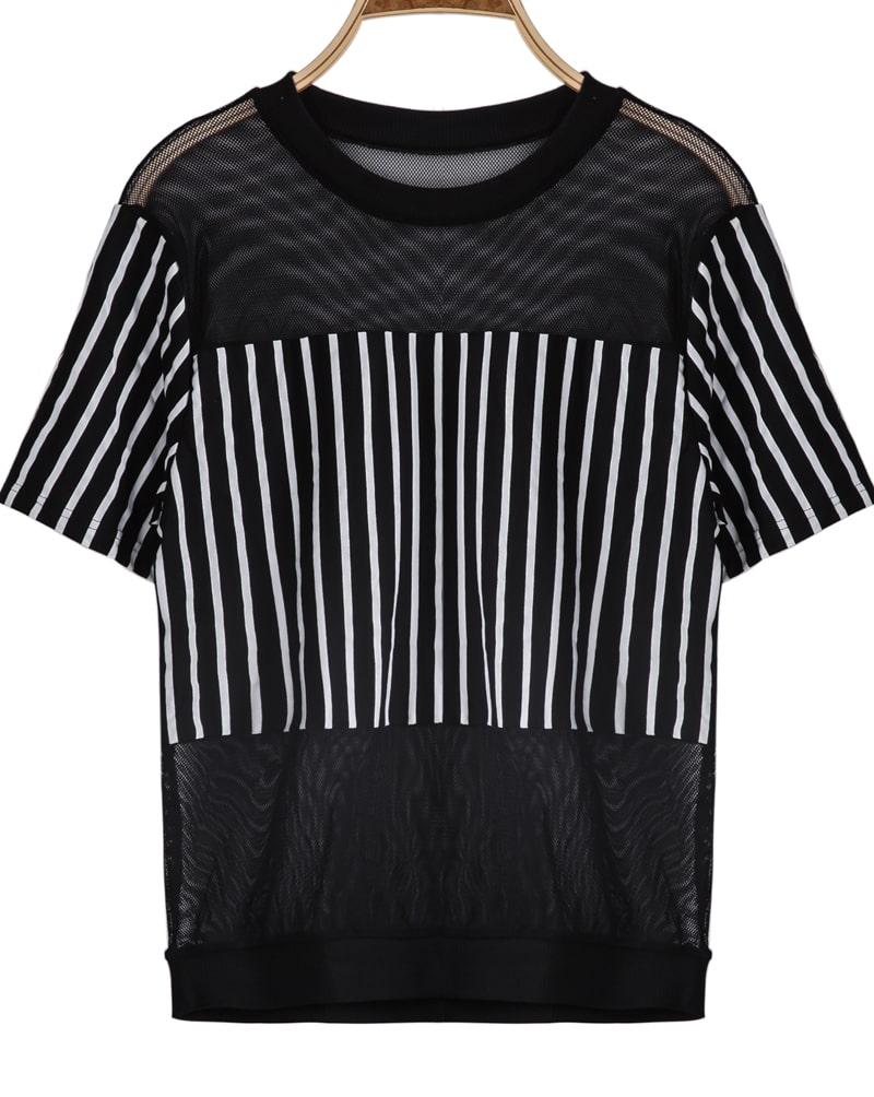 Black Short Sleeve Vertical Stripe Gauze T-Shirt -SheIn ...