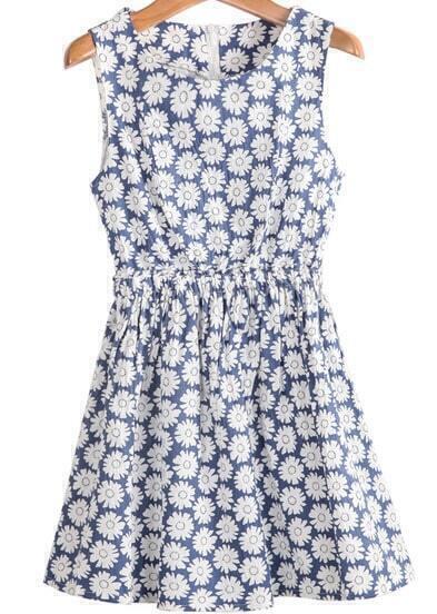 Blue Sleeveless Sunflowers Print Jumpsuit