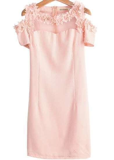 Pink Off the Shoulder Short Sleeve Bead Slim Dress