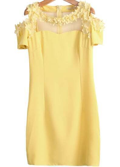 Yellow Off the Shoulder Short Sleeve Bead Slim Dress