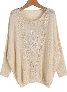 Apricot Batwing Long Sleeve Hollow Embroidered Sweater