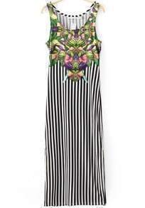 Black White Vertical Stripe Split Floral Dress