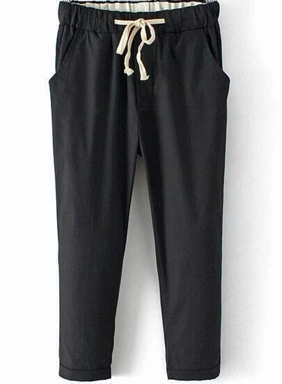 Black Drawstring Waist Crop Pant
