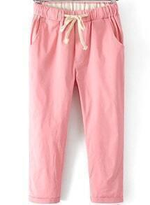 Pink Drawstring Waist Crop Pant