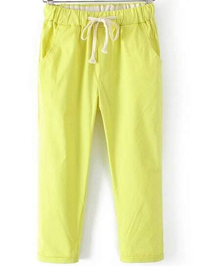 Green Drawstring Waist Crop Pant