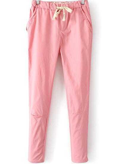 Pink Drawstring Waist Pockets Pant