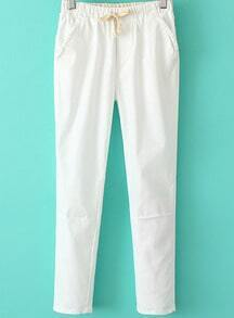 White Drawstring Waist Pockets Pant