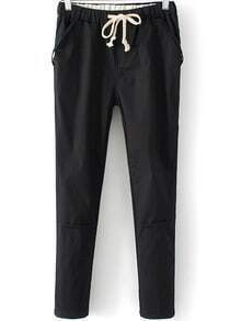Black Drawstring Waist Pockets Pant