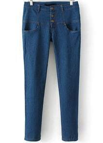 Blue Buttons Pockets Denim Slim Pant