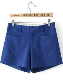 Blue Pockets Straight Chiffon Shorts