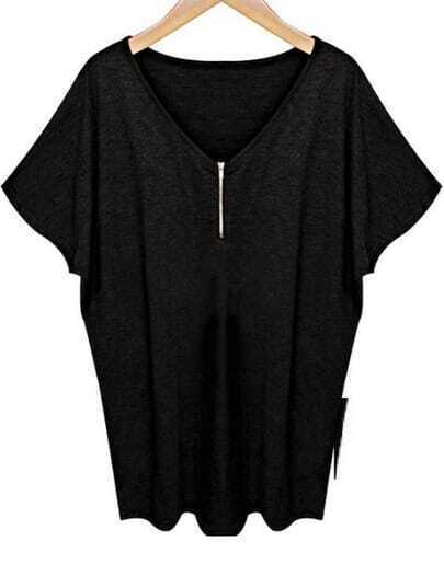 Black V Neck Batwing Short Sleeve Zipper T-Shirt