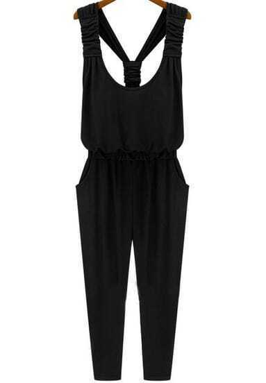 Black Strap Slim Pockets Jumpsuit