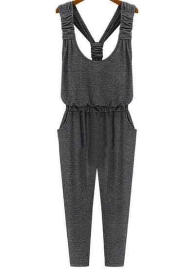 Grey Strap Slim Pockets Jumpsuit