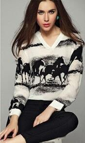 Apricot V Neck Long Sleeve Horses Print Blouse