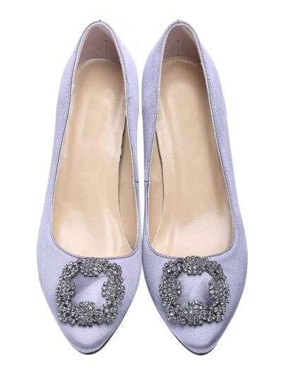 Silver Rhinestone High Heeled Point Toe Shoes
