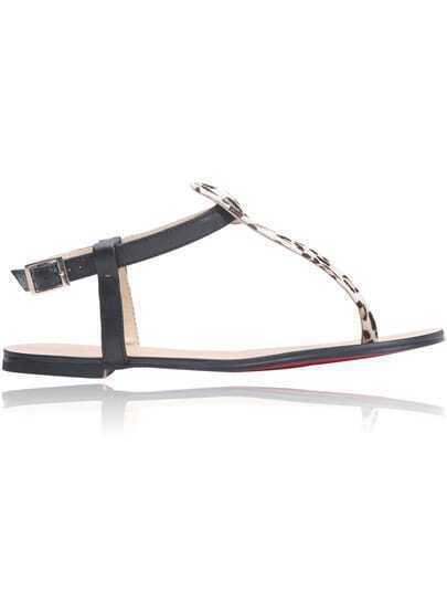Leopard Suede Flat Sandals
