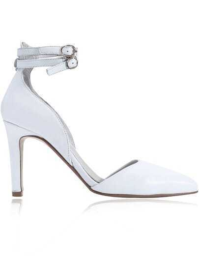 White Buckle High Heel PU Leather Shoes