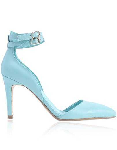 Blue Buckle High Heel PU Leather Shoes