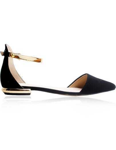 Black Ankle Strap Metal Low Heel Shoes