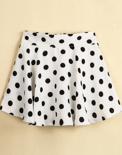 White Zipper Polka Dot Skirt