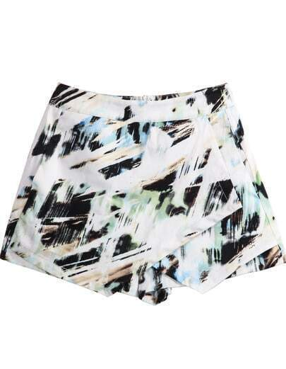White Graffiti Print Skirt Shorts