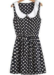 Black Contrast Collar Polka Dot Slim Dress