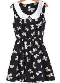 Black Contrast Collar Butterfly Print Slim Dress
