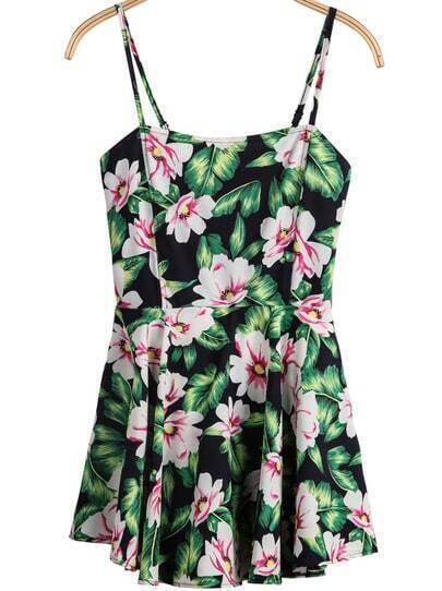 Black Spaghetti Strap Floral Leaves Print Dress