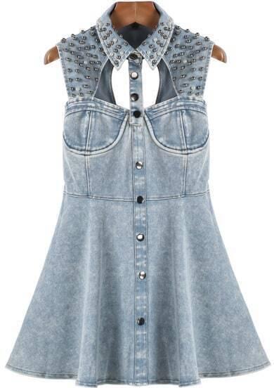 Blue Sleeveless Bead Hollow Denim Dress