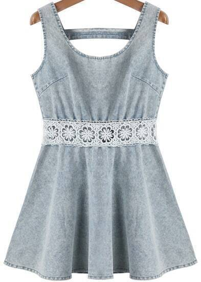 Blue Sleeveless Lace Pleated Denim Dress