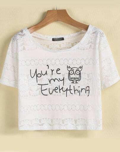 White Short Sleeve Owl Letters Print Lace T-Shirt